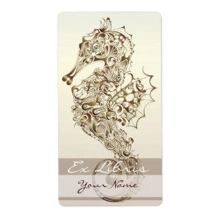 Placa de libro del Seahorse 6 - bronce Etiquetas De Envío