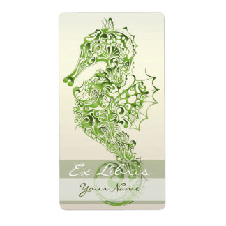 Placa de libro del Seahorse 7 - verde Etiquetas De Envío