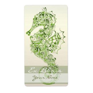 Placa de libro del Seahorse 7 - verde Etiqueta De Envío