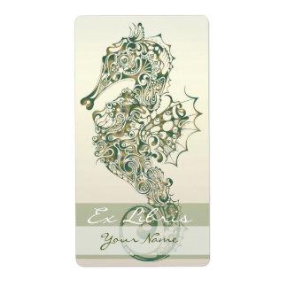 Placa de libro del Seahorse 8 - cobre verde Etiquetas De Envío