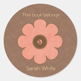 Placa de libro pegatina redonda