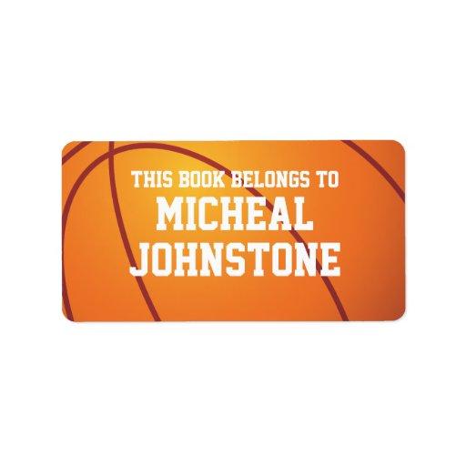 Placa de libro personalizada del baloncesto etiquetas de dirección