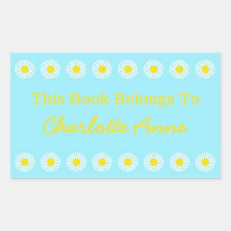 Placa de libro personalizada margarita del verano pegatina rectangular