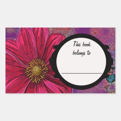 Placa de libro roja de la flor pegatina rectangular