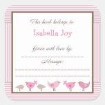 Placa de libro rosada de Penélope de la fiesta de  Calcomanía Cuadrada Personalizada