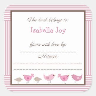 Placa de libro rosada de Penélope de la fiesta de Pegatina Cuadrada