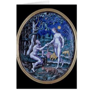 Placa de Limoges que representa Adán y a Eva, c.15 Tarjeta De Felicitación