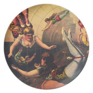 Placa de los acróbatas de circo del vintage plato de cena