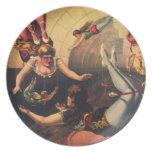 Placa de los acróbatas de circo del vintage platos
