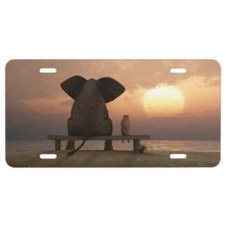 Placa de los amigos del elefante y del perro placa de matrícula