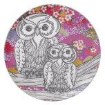 Placa de los búhos 14 del papel chino plato de comida