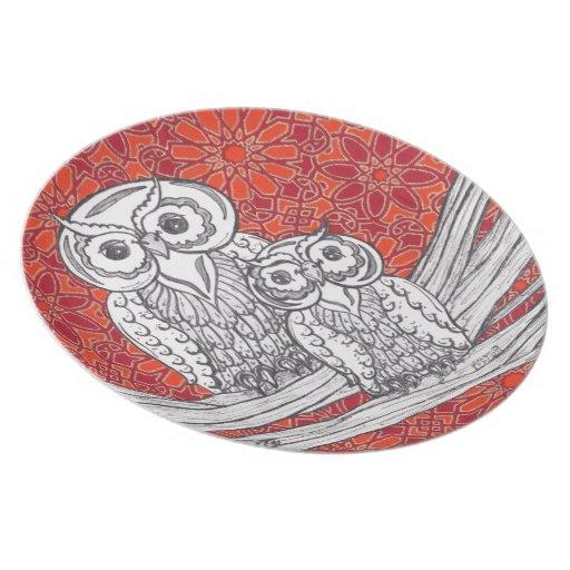 Placa de los búhos 41 platos para fiestas