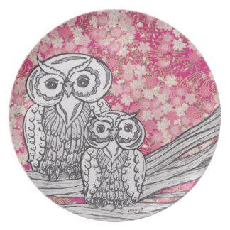Placa de los búhos 4 del papel chino platos para fiestas