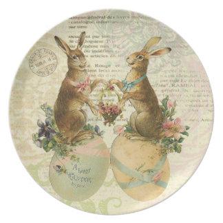 Placa de los conejitos de pascua del francés del v platos para fiestas