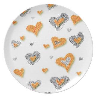 Placa de los corazones plato para fiesta