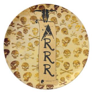 Placa de los cráneos del pirata platos para fiestas