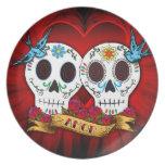 Placa de los cráneos y de los Bluebirds del amor Platos De Comidas