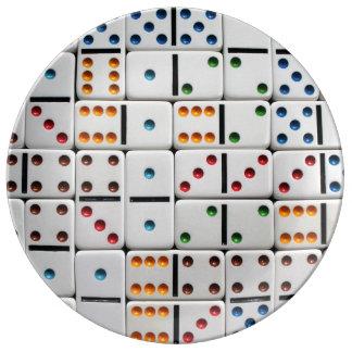 Placa de los dominós platos de cerámica