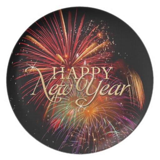 Placa de los fuegos artificiales de la Feliz Año N Plato