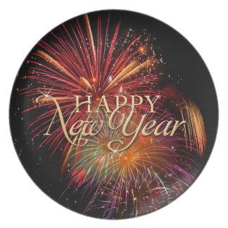 Placa de los fuegos artificiales de la Feliz Año N Plato De Comida