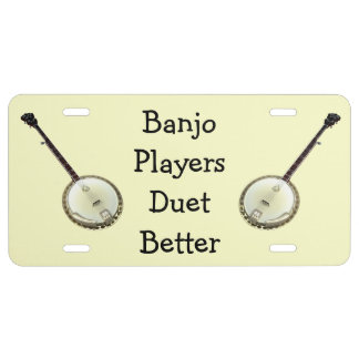 Placa de los jugadores del banjo placa de matrícula