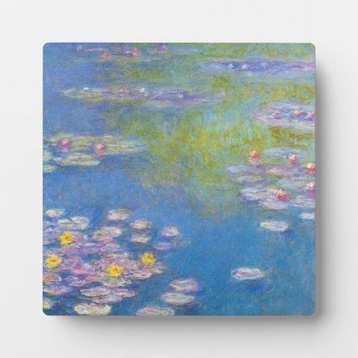 Placa de los lirios de agua amarilla de Monet