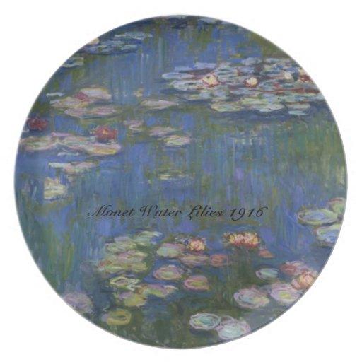 Placa de los lirios de agua de MONET 1916 Platos