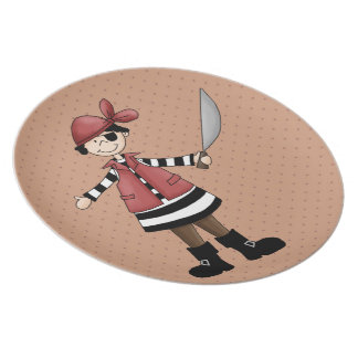 Placa de los niños de la serie 3 del pirata de la plato