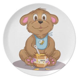 Placa de los niños del oso de miel platos de comidas