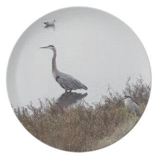 Placa de los pájaros de la garza plato para fiesta