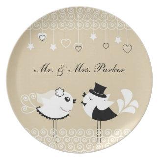 Placa de los pájaros de novia y del novio del boda platos para fiestas