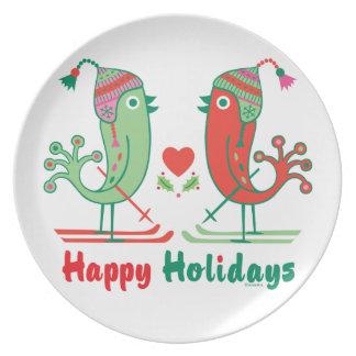 Placa de los pájaros del esquí buenas fiestas - plato de comida