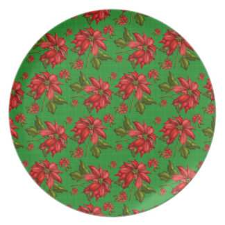 Placa de los Poinsettias del navidad Plato De Comida