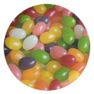 Placa de los polos del caramelo del arco iris de l plato de comida