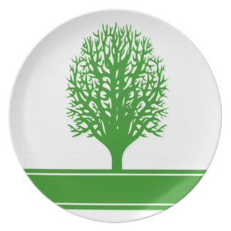 Placa de los problemas ambientales platos de comidas