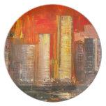 Placa de los rascacielos de Nueva York Plato