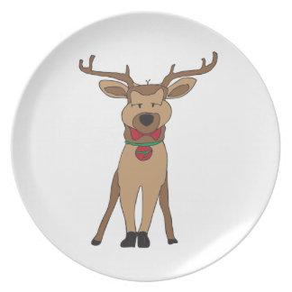 placa de los saludos de la estación del reno plato de cena