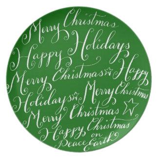Placa de los saludos de las Felices Navidad Plato De Cena