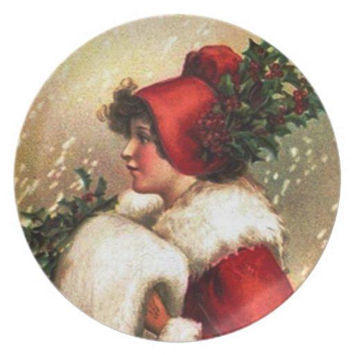 Placa de los saludos del navidad del vintage platos para fiestas