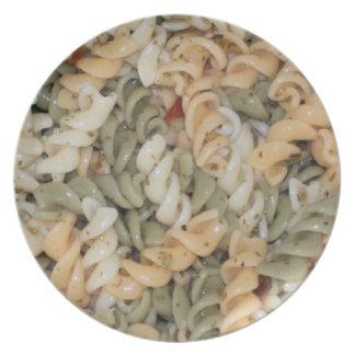 Placa de los tallarines de las pastas de Swirly Plato De Cena