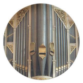 Placa de los tubos de órgano - órgano de ayuntamie plato de comida
