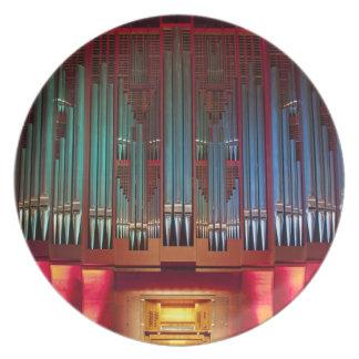 Placa de los tubos de órgano - órgano de ayuntamie plato de cena