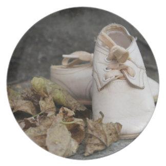 Placa de los zapatos de bebé platos