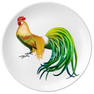 Placa de lujo colorida de la porcelana del gallo platos de cerámica