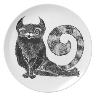 Placa de lujo del gato plato de cena