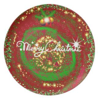 Placa de lujo del navidad del arte abstracto plato