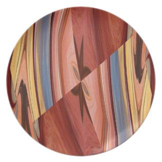 Placa de madera colorida del modelo plato de cena