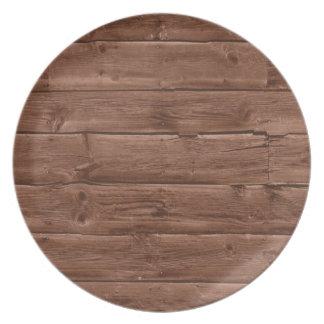 Placa de madera de la textura plato
