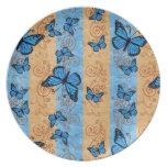 Placa de mariposa azul de monarca plato de comida