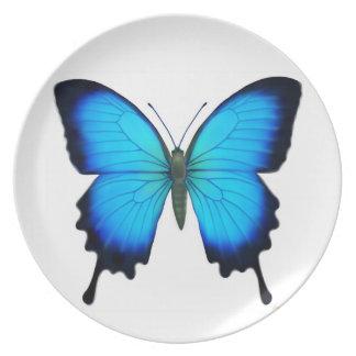 Placa de mariposa azul de Ulises Platos Para Fiestas